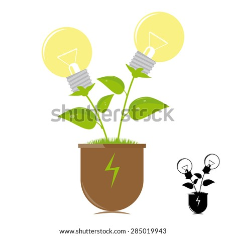 Ecology lamps on the plant - stock photo