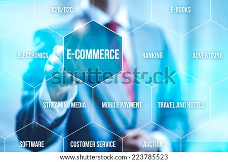 Ecommerce concept man selecting virtual interface - stock photo