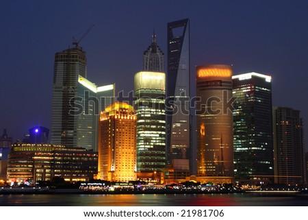 Economic Center of China - Night View of Shanghai - stock photo