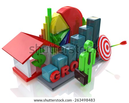 Economic growth in the business scene  - stock photo
