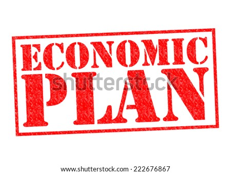 ECONOMIC PLAN red Rubber Stamp over a white background. - stock photo