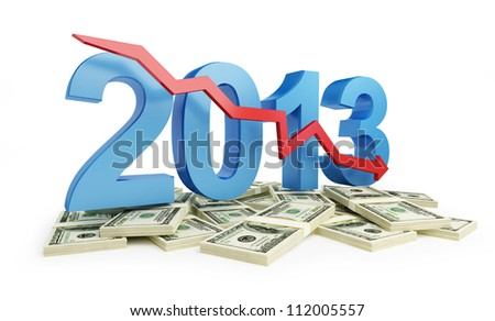 economic recession in 2013 on a white background - stock photo