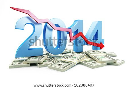 economic recession in 2014 on a white background - stock photo