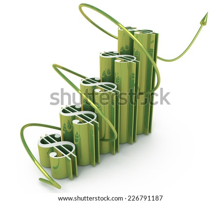 economic success of the dollar chart  - stock photo