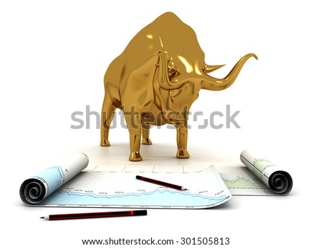 Economical business chart and bull - stock photo
