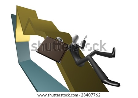 Economical crisis concept. Business man with briefcase falling down on chart. 3d image isolated on white. - stock photo