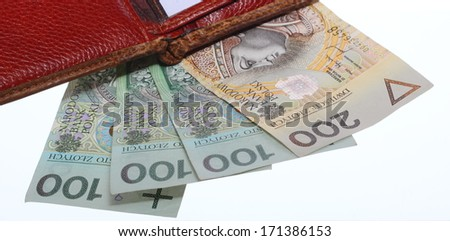 Economy and finance. Wallet with money paper currency polish zloty banknote isolated on white background - stock photo