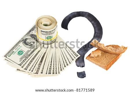 Economy crisis of USA dollar currency concept photo with bread crust on white - stock photo