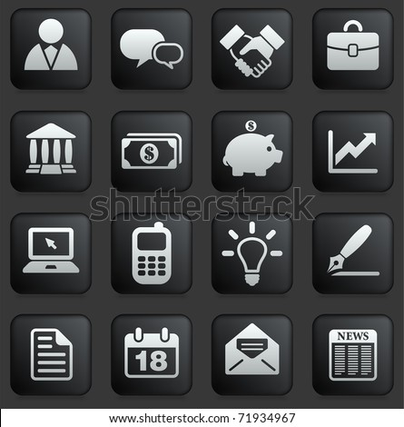 Economy Icon on Square Black and White Button Collection Original Illustration - stock photo