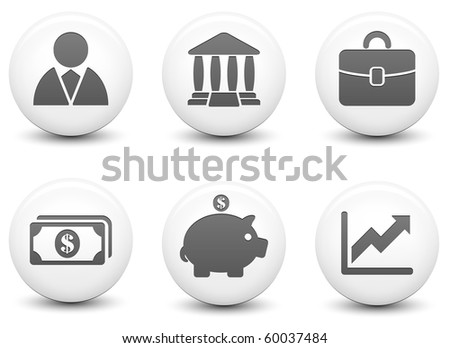 Economy Icons on Round Black and White Button Collection Original Illustration - stock photo