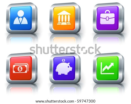 Economy Icons on Square Button with Metallic Rim Collection Original Illustration - stock photo