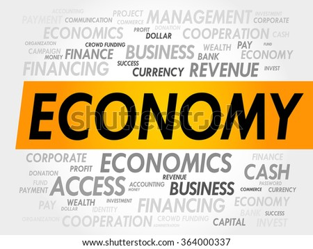 ECONOMY word cloud, business concept - stock photo