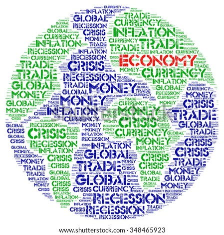 ECONOMY. Word collage on white background. Illustration with different association terms. - stock photo