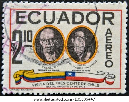 ECUADOR - CIRCA 1971: A stamp printed in Ecuador dedicated to the visit of Salvador Allende, President of Chile to Ecuador, circa 1971 - stock photo