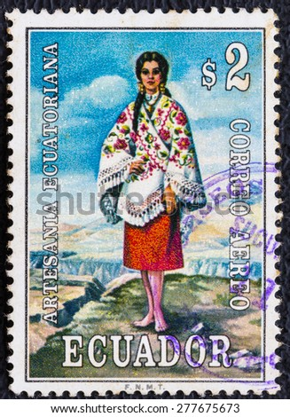 ECUADOR - CIRCA 1979 : A stamp printed in Ecuador showing image of a beautiful women stand on the ground  , circa 1979 - stock photo