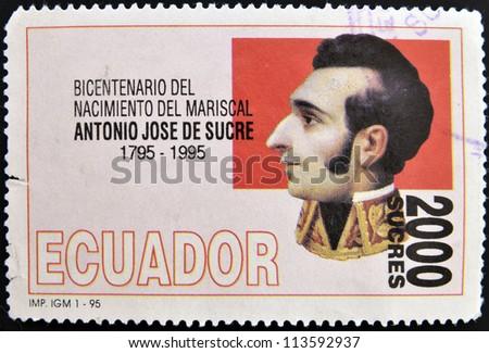ECUADOR - CIRCA 1995: A stamp printed in Ecuador shows Antonio Jose de Sucre, circa 1995 - stock photo