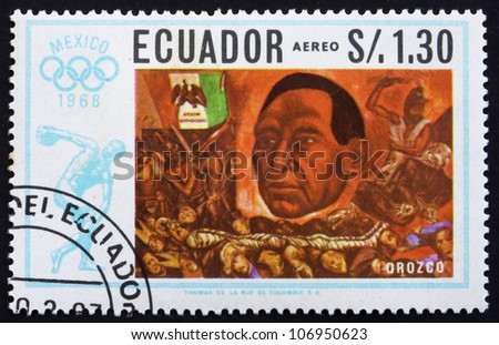 ECUADOR - CIRCA 1967: a stamp printed in the Ecuador shows President Juarez, Painting by Jose Orozco, Summer Olympics, Mexico City 68, circa 1967 - stock photo