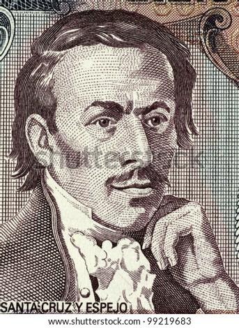 ECUADOR - CIRCA 1988: Eugenio Espejo (1747-1795) on 500 Sucres 1988 Banknote from Ecuador. Medical pioneer, writer and lawyer of mestizo origin in colonial Ecuador. - stock photo
