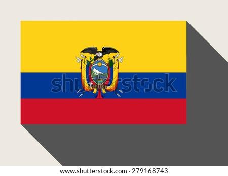 Ecuador flag in flat web design style. - stock photo