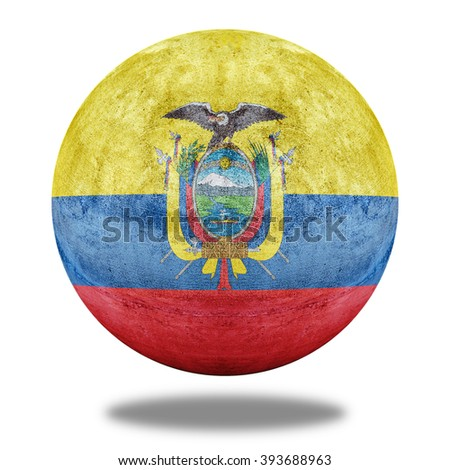 Ecuador flag pattern on stone circle shape texture - stock photo