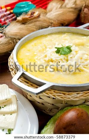 "Ecuadorian food series: potato soup or ""locro"" - stock photo"