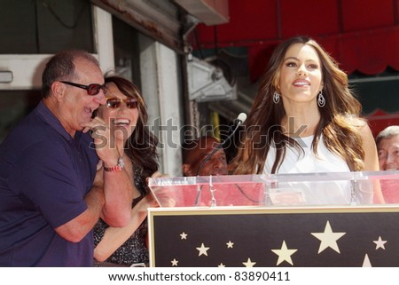 Ed O'Neill, Katy Segal, Sofia Vergara at the Ed O'Neill Hollywood Walk Of Fame Induction Ceremony, Hollywood, CA. 08-30-11 - stock photo
