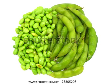 Edamame soy beans shelled and pods on white background - stock photo