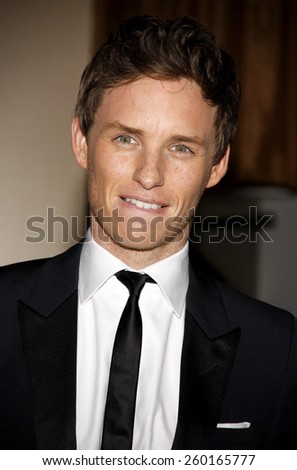 Eddie Redmayne at the 19th Annual Art Directors Guild Excellence In Production Design Awards held at the Beverly Hilton Hotel in Los Angeles on Saturday January 31, 2015.  - stock photo