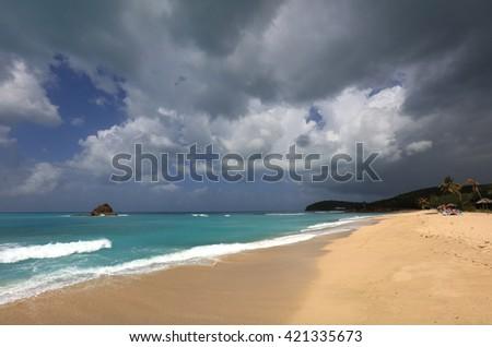 Eden Beach, Hawksbill, Antigua - stock photo