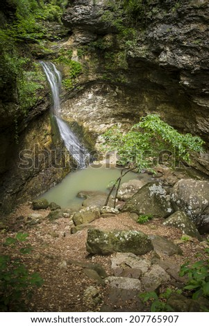 Eden Falls in Lost Valley on the Buffalo National River. - stock photo