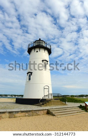 Edgartown Harbor Lighthouse at the entrance into Edgartown Harbor and Katama Bay, Martha's Vineyard, Massachusetts, USA. This historic lighthouse was built in 1828. - stock photo