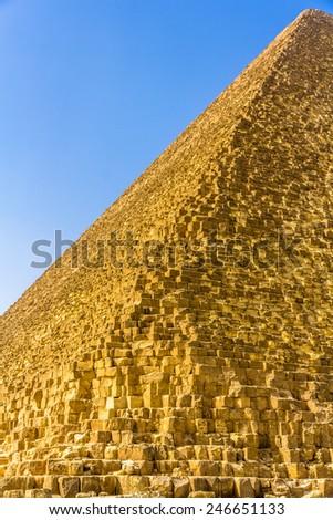 Edge of the Great Pyramid of Giza - Egypt - stock photo