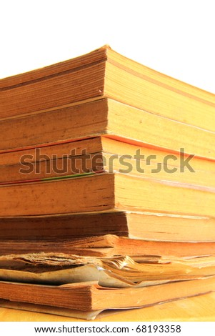 edged of stack old dirty books - stock photo