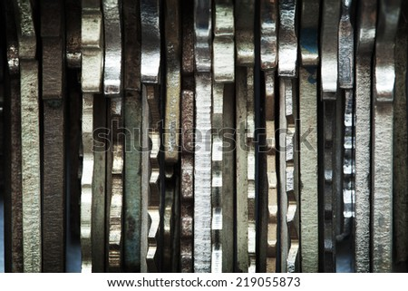 Edges of many old keys. Security and encryption, concept image.  - stock photo