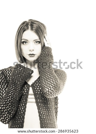 Edgy young caucasian female in modest bikini - stock photo