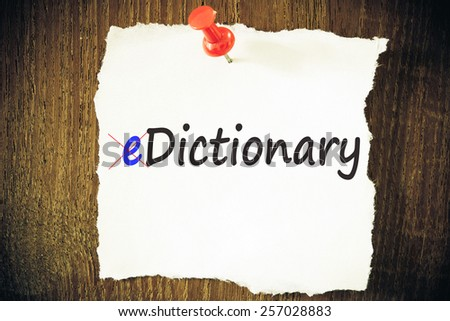 eDictionary. Written on white paper - stock photo