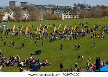 EDINBURGH â?? APRIL 17: Meeting point at 10 mile Great Edinburgh Run in Holyrood Park, April 17, 2016 in Edinburgh, UK - stock photo