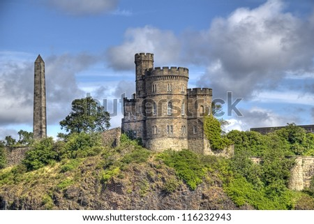 Edinburgh, Calton Hill observatory in UK - stock photo