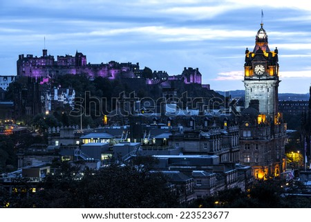 Edinburgh castle and Cityscape from Calton Hill at sunset Scotland UK - stock photo