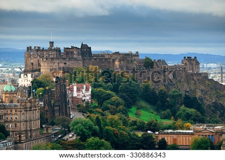 Edinburgh castle as the famous city landmark. United Kingdom. - stock photo