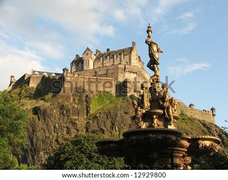 Edinburgh Castle from Princes Street Gardens - stock photo