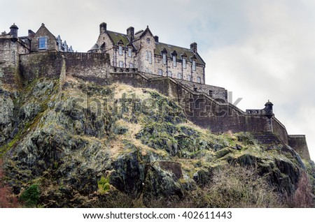 Edinburgh Castle on a Cloudy Winter Day - stock photo