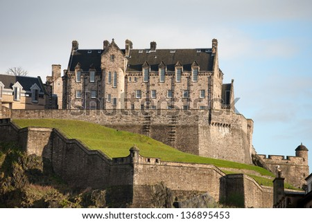 Edinburgh Castle on a sunny day. - stock photo