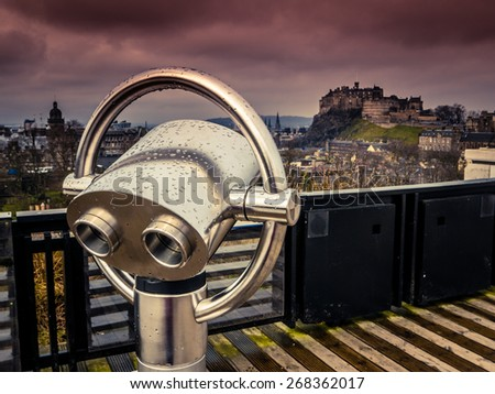 Edinburgh Castle Under An Atmospheric Sunset Sky - stock photo