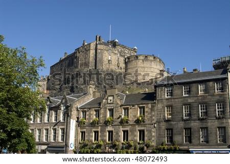 Edinburgh Castle view from the Grassmarket. Edinburgh. Scotland. UK. - stock photo