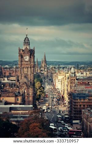 Edinburgh city street rooftop view in United Kingdom. - stock photo