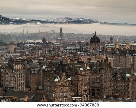 Edinburgh city view as seen from Nelson monument - stock photo