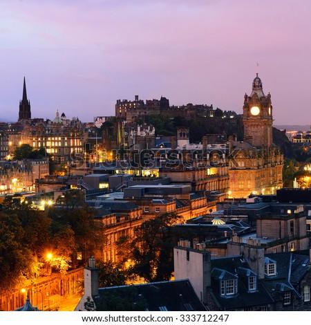 Edinburgh city view at night in UK. - stock photo