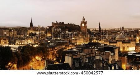 Edinburgh city view panorama at night in UK. - stock photo