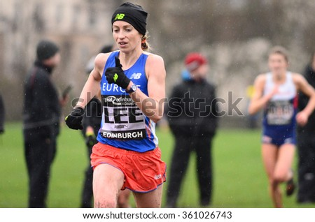EDINBURGH - JANUARY 9: athletes compete in the Great Edinburgh Cross Country event on January 9, 2016 in Edinburgh, Scotland. Edinburgh hosts the athletics event annually in January. - stock photo